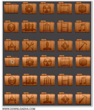 Wood مجموعه آیکون هایی زیبا با طرح چوب Collection of Wooden Icons