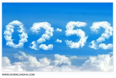 Blue Clouds Clock دانلود اسکرین سیور زیبای ساعت Blue Clouds Clock Screensaver 2.0